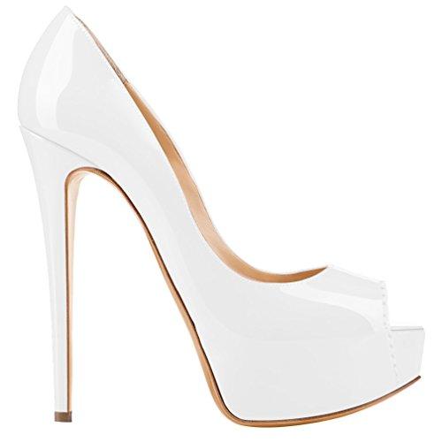 MONICOCO Übergröße Damenschuhe Mehrfarbig Peep-Toe High Heels Pumps mit Plateau Weiß Lackleder