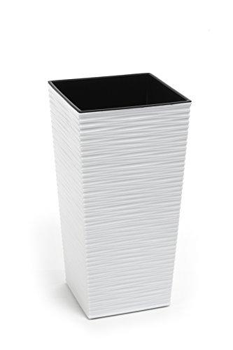 Kreher XXL Design Pflanztopf aus Kunststoff in Strukturiertem Matt Weiß mit Herausnehmbaren Einsatz. Maße BxTxH in cm: 40 x 40 x 75,3 cm. 91,5 Liter Volumen!