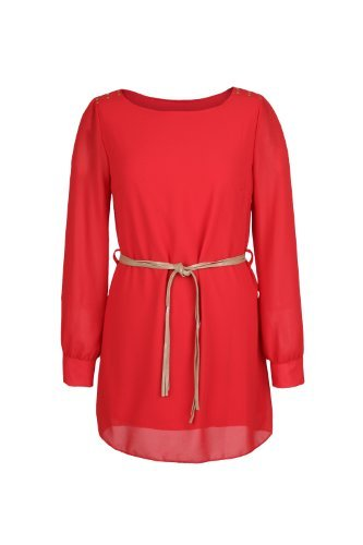 Apparel Outlet - Mini robe style Tunique à manches longues - Babydoll - Femme Rouge