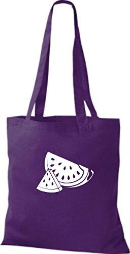 ShirtInStyle Stoffbeutel Baumwolltasche Dein Lieblings Obst und Gemüse Wassermelone Farbe Orange lila