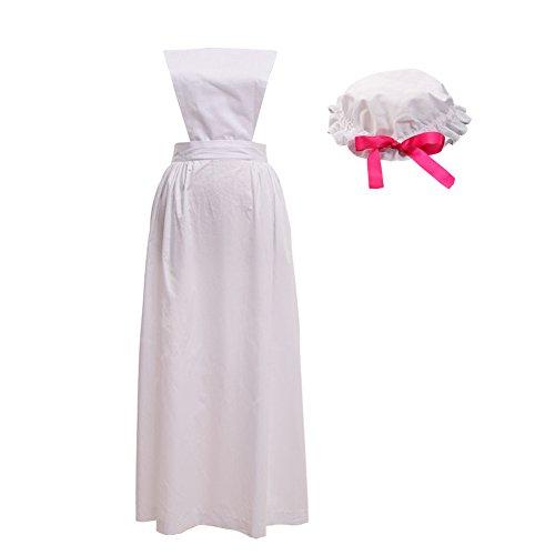 Kostüm Dienstmädchen Outfit Damen Viktorianischen - GRACEART viktorianisch Schürze Schürze mit Mob Mütze100% Baumwolle (4 Stile Option) (Stil-3)
