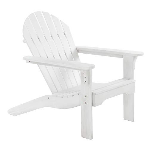 MACOShopde by MACO Möbel Gartenstuhl/Gartensessel Canadian Jumbo Adirondack Deck Chair aus Akazienholz in weiß