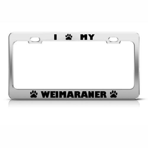 Weimaraner Hund Hunde Metall Chrom Nummernschild Rahmen Tag Halter -