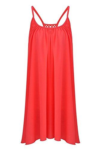 Robe de Plage été Casual Femme - Nuit Jaune Fluorescent Robe - Mousseline de Soie Robe Sexy Courte Sans Manches Rouge