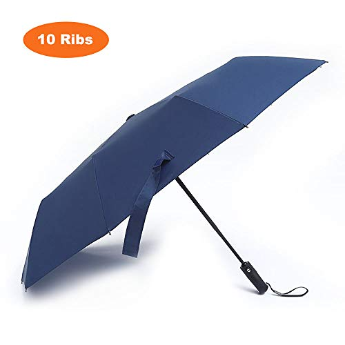 Loplay Folding Travel Regenschirm, Winddicht Compact Automatische 10Rippen Regenschirm für Damen und Herren, Marineblau