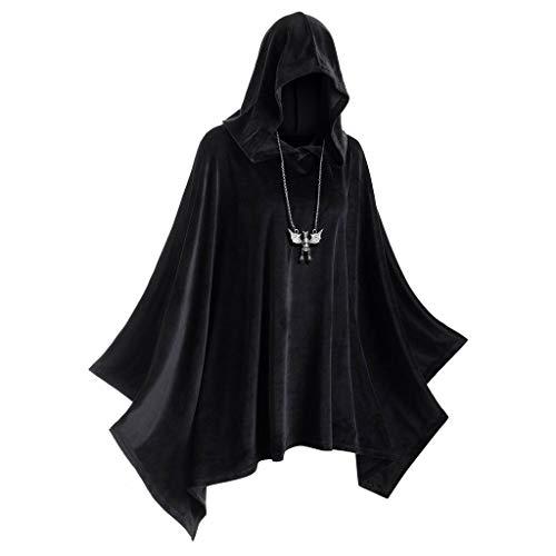 Eternali Unisex Halloween Erwachsener Samt Hoodie Umhang Vampire Devil Hexe Cosplay Kostüm mit Kapuze Cape Herren Damen Doppelseitig Festliche Party Hooded Mantel Maske Prom Dress Up (Bier Kann Hunde Kostüm)