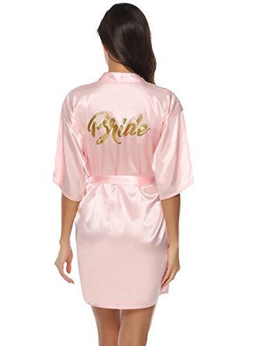 Abollria Bata Mujer Kimono Seda Corto Boda Novia Fiesta