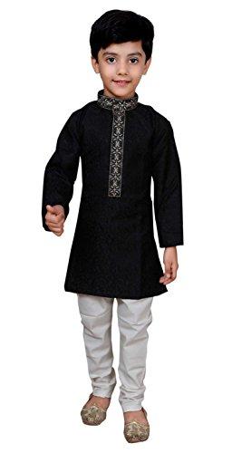 Gandhi Kostüm Kinder - Desi Sarees Jungen Asiatische Party Kurta Pyjama Sherwani Anzug 938 Gr. 13 Jahre, Schwarz