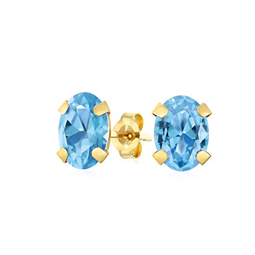 1.6CT Gemma A Forma Ovale Swiss Topazio Azzurro Orecchini A Lobo Per Donne Vero Oro Giallo 14K Dicembre Birthstone