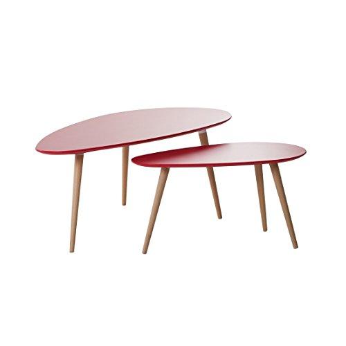 Beliani Tables Basses - Lot de 2 Tables d`appoint - Rouge - Tables de Salon - Fly