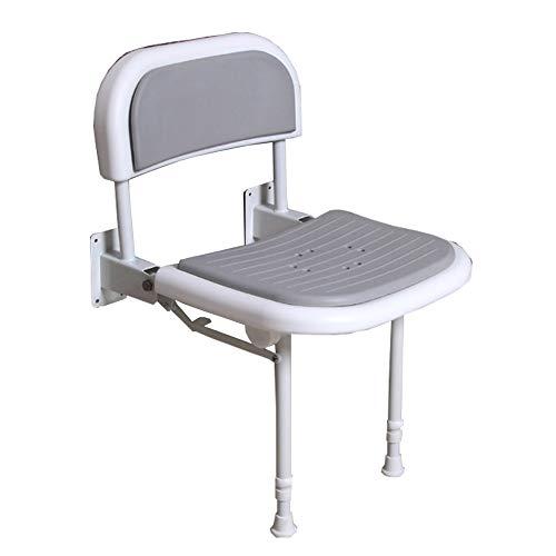 PEIQI BATHROOM Duschhocker Duschstuhl Falten Sie Badezimmer-Stuhl-Wand Angebrachte Duschbank, Mit Beinen Und Rücken, 6 Stufen Verstellbare Duschbank, Bis 250Kg