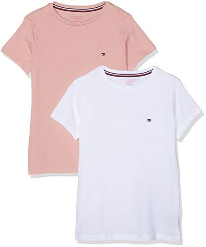 Tommy Hilfiger Mädchen 2P Tee SS T-Shirt, Mehrfarbig (Rose Tan/White 022), 164 (Herstellergröße: 12-14)
