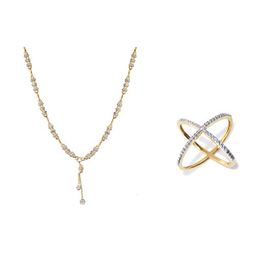 Zeneme AKSHAYA TRITIYA Speical Gift Collection of Fashionable American Diamond Mangalsutra & Rings Jewellery For Women (White)