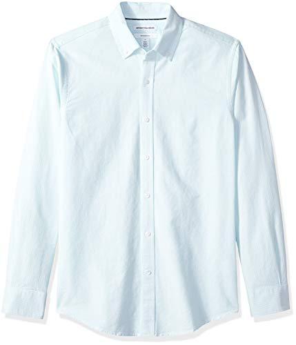 Amazon Essentials Slim-Fit Long-Sleeve Stripe Oxford Shirt Freizeithemd, Blau (Aqua AQU), US L (EU L) -