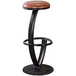 Tabouret de Bar surélevé à la personnalité Unique, Hauteur 65 cm (26 po), Coussin en Similicuir à Structure en Fer, Noir, pour Restaurants, Bars, cafés, réception