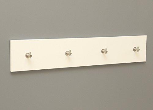 Wandgarderobe Flurgarderobe Holzgarderobe Kleiderhakenleiste Hakenleiste Garderobenbrett Garderobenleiste inklusive Haken (80cm x 18cm x 19mm, weiß matt)