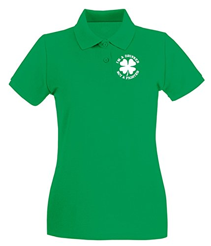 Cotton Island - Polo pour femme T0060 not figther fun cool geek Vert