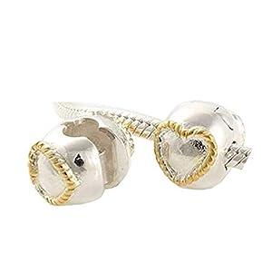 Andante-Stones 925 Sterling Silber Gold Bead Charm Clip Stopper Goldene Herzen Element Kugel für European Beads Modul Armband + Organzasäckchen