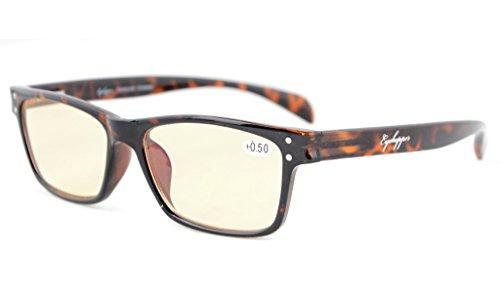 Eyekepper Leser Qualität Spring-Scharniere Sport Style Gelb getönte Linsen Computer Lesebrillen Computer Brillen Brillen Schildkröten +1.25
