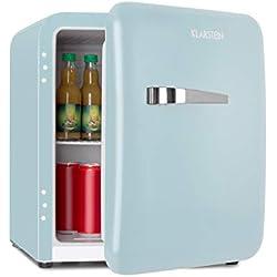 Klarstein Audrey Mini réfrigérateur rétro • Mini Réfrigérateur • Réfrigérateur à boissons • Classe d'efficacité énergétique A+ • Capacité 48L • 2 niveaux • 0-10 °C • Compartiment bouteilles • bleu