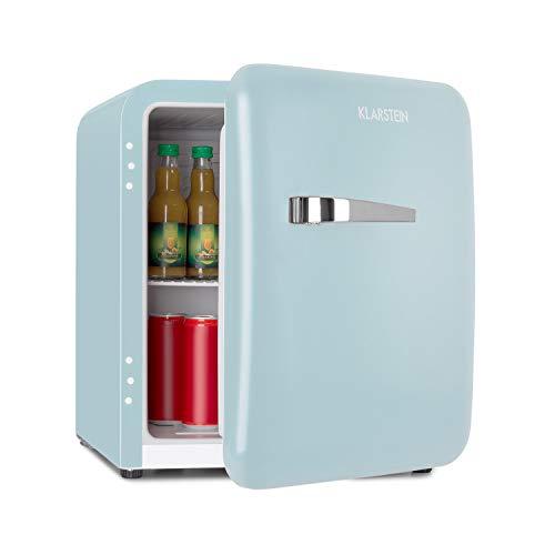 Klarstein Audrey Mini Retro-Kühlschrank • Mini-Kühlschrank • Getränkekühlschrank • Energieeffizienzklasse A+ • 48 Liter Fassungsvermögen • 2 Ebenen • Kühltemperatur: 0-10 °C • Flaschenfach • blau