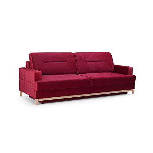 mb-moebel Velours Sofa mit Holzrahmen Couch mit Schlaffunktion Wohnzimmer Schlaffsofa LOFT (Rot)