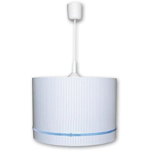 Lámpara de techo de rayas azul claro/blanco con terciopelo cinta 1-lámpara de techo.