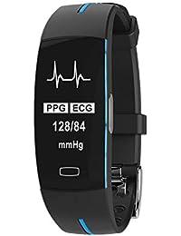 P3 Smart Bracelet PPG + Électrode photoélectrique ECG ECG de Pression artérielle Bracelet étanche de Bluetooth IP67 de Mesure de fréquence Cardiaque (Noir et Bleu