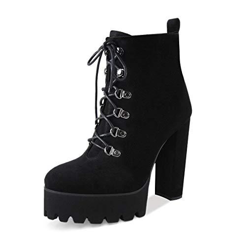 Onlymaker Frauen Bequeme elastische Plattform Stiefel runde Zehe Chunky High Heel schnüren Ankle Booties Schwarz Wildleder Stiefeletten für EU44 High Heels Plattform