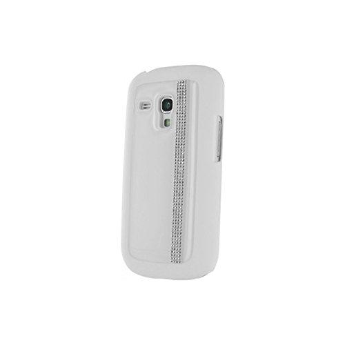 Coque Samsung Galaxy S3 Mini I8190 Swarovski blanche rivière de strass