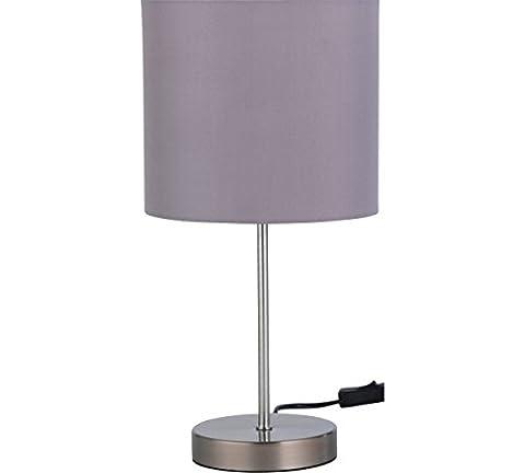 Stylish Design Satin Stick Flint Grey Modern Table Lamp
