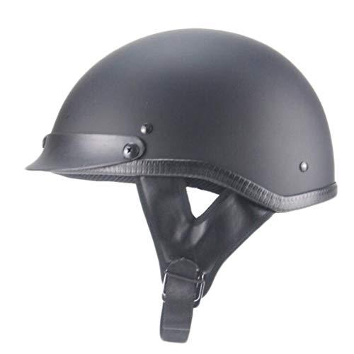 FEIYUESS Retro halber Helm Motorrad Erwachsene Männer und Frauen Schutzhelm Komfortable Durable (Farbe : SCHWARZ, größe : L(59-60CM))