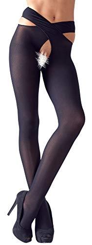 Strümpfe mit überkreuztem Taillenbund Ouvert schwarz - Damen Strumpfhose Netzstrumpfhosen Feinstrumpfhosen Nahtlos Netzs Leggings Muster Elastisch Tragekomfort sexy erotisch verfüherisch (S/M)