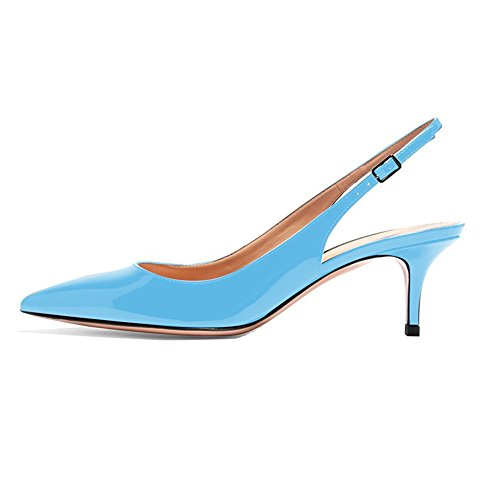 EKS Frauen Spitzschuh Mid Heels Slingback Patent Kleid Party Pumps Schuhe Himmelblau 36 EU