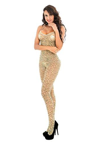 Sexy Leopard Bodystocking Netz body dessous Catsuit Unterwäschen -