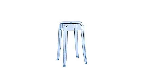 Kartell sgabello charles ghost 46 blu trasparente 46 cm: amazon.it