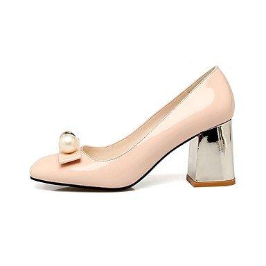 Talons féminins Printemps Été Automne Hiver Club Chaussures Confort Cuir de vachette en cuir verni Fête de mariage et robe de soirée Chunky HeelImitation Nude