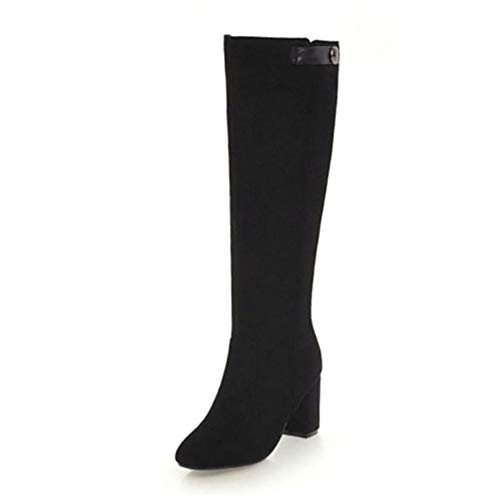 FMWLST Stiefel Frauen Knie Stiefel High Heels Pelz Winter Warme Schuhe Damen Dicke Ferse Schuhe Stiefel Damen Schuhe, 34 -