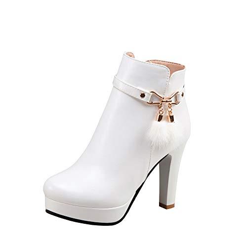 Y2Y Studio Bottines Femmes La Modeuse 2017 Hautes Plateforme Bout Rond Elégant Talons Aiguilles 10cm High Heels Zip Boots Femmes Courtes Winter Shoes Boots Femmes Cuir