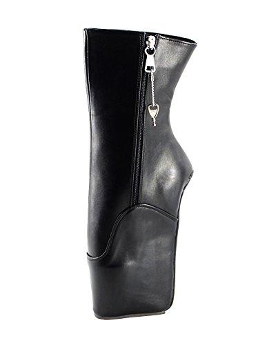 Ballett-stiefel (WONDERHEEL Damen Locked Zipper Ankle Ballett Stiefel Schwarz 43.5 EU)
