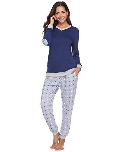 Abollria Schlafanzug Damen Pyjama Set Baumwolle Lang Mädchen Langarm Hausanzug Sleepwear öko Freizeitanzug Hausanzug Anzug V Aussschnitt mit Gepunkte Hose (Navy Bleu, M)