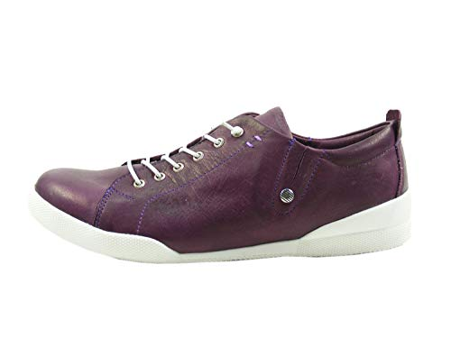 Andrea Conti Damen Schnürschuhe 0345724 Leder Halbschuhe Schnürer, Schuhgröße:39 EU, Farbe:Violett