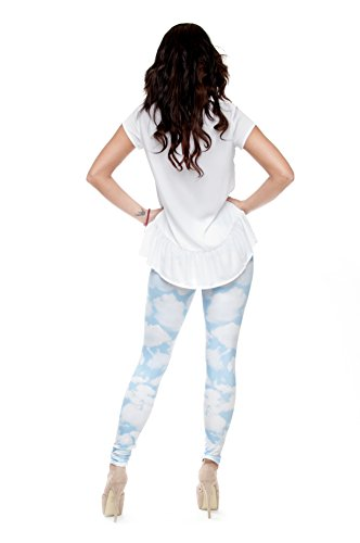 Filles Leggings pour femme Imprimé All Over pas voir à travers très élastique UK 8/10/12 Entraînement Fitness Yoga de Course Gym Danse Pantalon pour femme Multicolore - CLOUDS