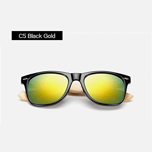 YHEGV Klassische Vintage Holz Sonnenbrille Männer Frauen Gespiegelte Reflektierende Linse Holz Sonnenbrille Weibliche Bambus Brille