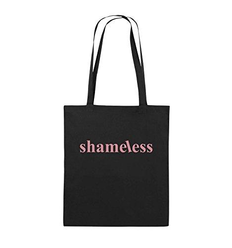 Comedy Bags - shameless - LOGO - Jutebeutel - lange Henkel - 38x42cm - Farbe: Schwarz / Silber Schwarz / Rosa