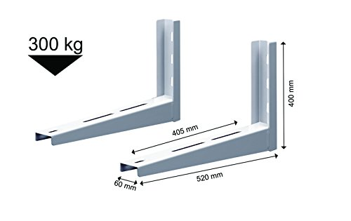 Michl Technik Wandkonsole Halterung Wärmepumpe, Klimagerät, Klimaanlage 300 kg MTMS402 weiss 400x520 mm (LxB)