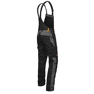 Kermen - Männer Arbeits-Latzhose mit Kniepolstertaschen Berlin Kombi-Hose - Made in EU - Größe: 58, Farbe: Schwarz-Grau