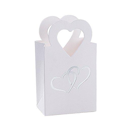 BUONDAC 50 Stücke Mini Gastgeschenke Box Hochzeit Bonboniere Gastgeschenk Taufe Geschenkbox Klein für Süßigkeiten Geschenkschachtel Pralinenschachtel Leer (Weiß mit Silbrig Herz (50 Stk))