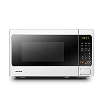 Toshiba 800 w 20 L Microwave Oven with 6 Preset Recipes, 11 Power Levels, Procedural Memory, Auto Defrost, and Digital Display - White - MM-EM20P(WH)