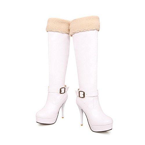 AgooLar Damen Reißverschluss Stiletto Pu Leder Gemischte Farbe Hoch-Spitze Stiefel Weiß